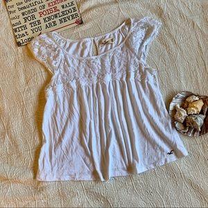 Hollister Lace Yoke Babydoll Shirt